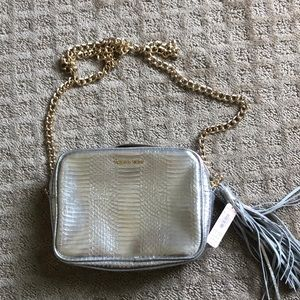 Silver Victoria's Secret crossbody bag